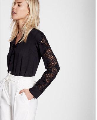 Express Slim Fit Lace Sleeve No Pocket Portofino Shirt $59.90 thestylecure.com