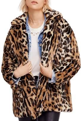 Free People Kate Faux-Fur Leopard Coat