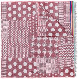 Paul Smith mixed-jacquard pattern scarf