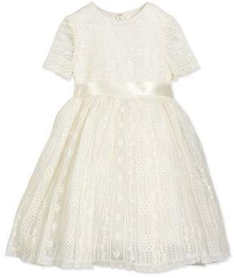 Oscar de la Renta Dawn Short-Sleeve Lace Dress, Ivory, Size 2-14
