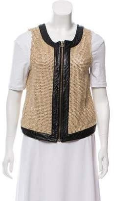 Kelly Wearstler Leather-Trimmed Silk Vest