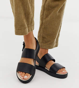 Monki exclusive double strap flat slingback sandals in black
