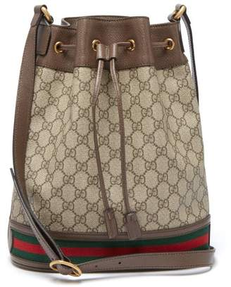 Gucci Ophidia Gg Supreme Leather Bucket Bag - Womens - Brown Multi