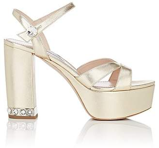 Miu Miu Women's Metallic Leather Ankle-Strap Platform Sandals