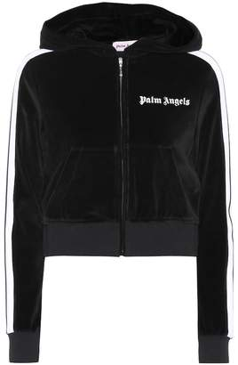 Palm Angels Cropped velour hoodie