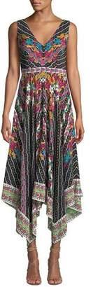 Saloni Zuri Printed Sleeveless V-Neck Dress