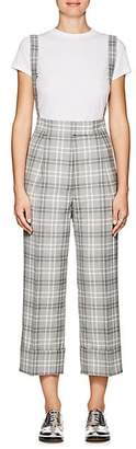 Thom Browne WOMEN'S PLAID WOOL-BLEND SUSPENDER TROUSERS - GRAY SIZE 48 IT