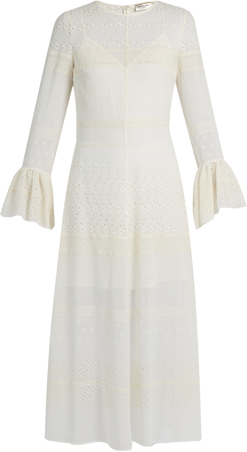 Saint Laurent SAINT LAURENT Bell-sleeve broderie-anglaise georgette midi dress