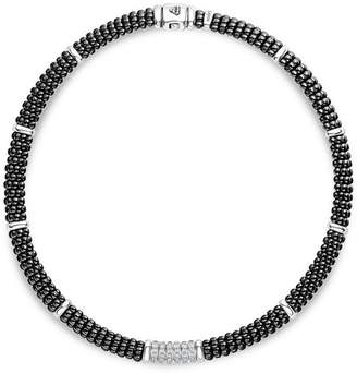 Lagos Sterling Silver Black Caviar Collection Six-Bar Station Diamond & Black Ceramic Necklace, 16""