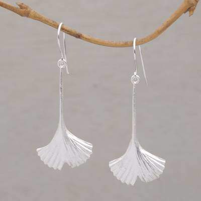 Tender Leaf Leaf Motif Sterling Silver Dangle Earrings Handmade in Bali