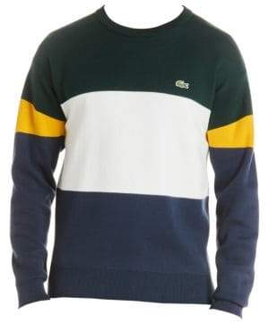 Lacoste Cotton Stripe Colorblock Crewneck Sweater