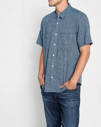 7 For All Mankind Short Sleeve Linen Shirt in Navy