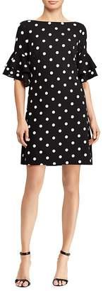 Lauren Ralph Lauren Petites Bell-Sleeve Polka-Dot Dress