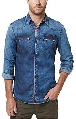 Buffalo David Bitton Men's Salindo Long Sleeve Denim Woven Shirt