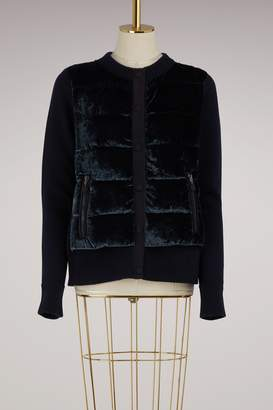 Moncler Knitted and velvet bomber jacket