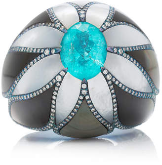 Arunashi One-Of-A-Kind Paraiba And Mother Of Pearl Ring