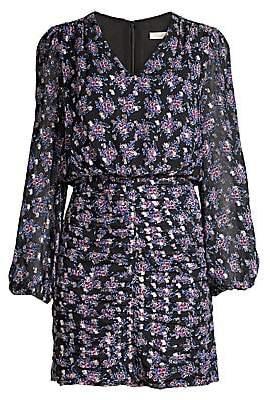 Shoshanna Women's Olaya Floral Ruched Mini Blouson Dress