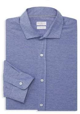 Brunello Cucinelli Heathered Leisure-Fit Shirt