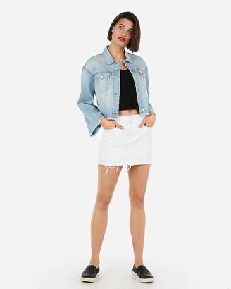 Express Mid Rise Distressed White Mini Jean Skirt