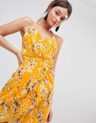 Parisian Floral Wrap Cami Dress With Frill
