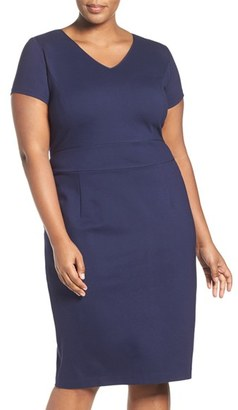 Plus Size Women's Sejour Ponte Sheath Dress $129 thestylecure.com