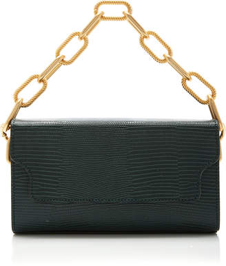 Marge Sherwood Clutch Box And Chain Lizard-Effect Leather Top Handle