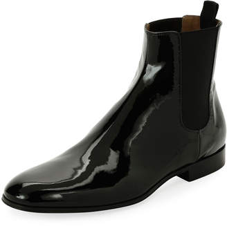 Gianvito Rossi Alain Men's Patent Leather Chelsea Boot, Black