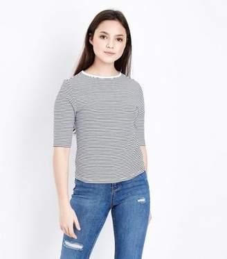 New Look Girls White Stripe Half Sleeve T-Shirt