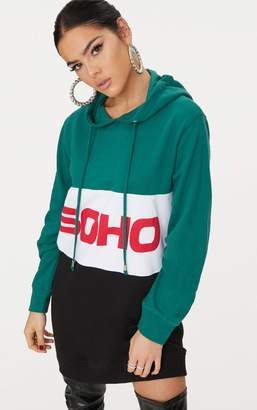 PrettyLittleThing Green Soho Hooded Sweater Dress