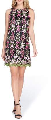 Tahari Embroidered Floral Shift Dress