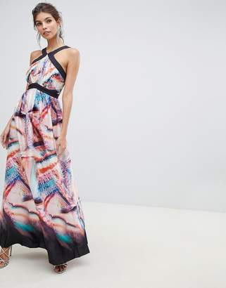 a3f9634cf8 Little Mistress print with satin detail wide strap maxi dress