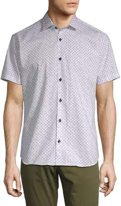 Jared Lang Men's Printed Short-Sleeve Cotton Button-Down Shirt