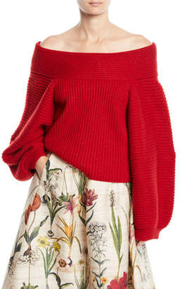 Oscar de la Renta Off-the-Shoulder Balloon-Sleeve Wool Knit Sweater
