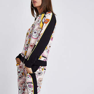 River Island Pink floral zip through tracksuit top