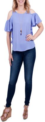 Everly Periwinkle Cold Shoulder Top $40 thestylecure.com