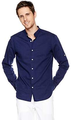 Isle Bay Linens Men's Slim-Fit Long-Sleeve Band Collar Woven Shirt Navy