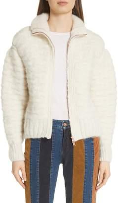 See by Chloe Contrast Panel Wool Blend Jacket