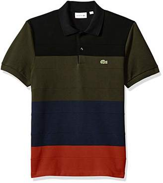 Lacoste Men's Short Sleeve Reg Fit Heavy Pique Colorblock Polo