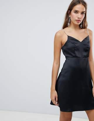 New Look Diamante Trim Satin Dress