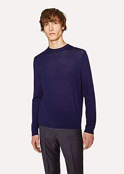 Paul Smith Men's Dark Indigo Crew-Neck Merino Wool Sweater