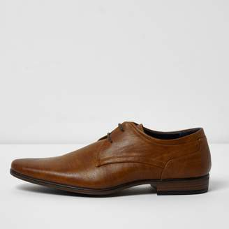 River Island Mens Tan pointed formal lace-up shoes