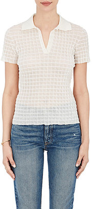 Giorgio Armani Women's Check-Textured Polo Shirt $1,045 thestylecure.com