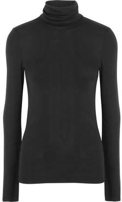 Supima Cotton And Modal-blend Turtleneck Sweater - Black