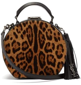 Saint Laurent Mica Small Calf Hair And Leather Cross Body Bag - Womens - Leopard