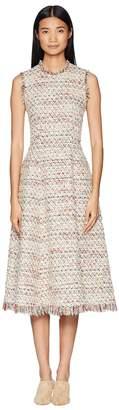 ADAM by Adam Lippes Cotton Tweed Sleeve Crew Neck Fluted Dress Women's Dress