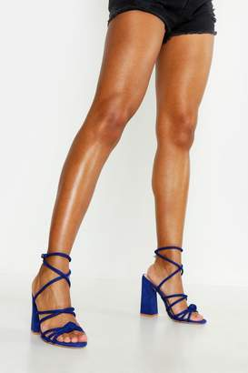 e9f281e283 boohoo Knot Detail Wrap Ankle Block Heels
