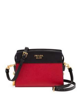 Prada Bicolor Leather Camera Crossbody Bag, Red/Black $1,480 thestylecure.com
