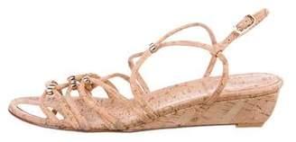 Stuart Weitzman Cork Embellished Sandals