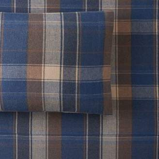 Pottery Barn Teen Aspen Organic Plaid Flannel Sheet Set, Twin/Twin XL, Faded Navy