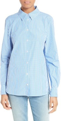 Women's Tibi Gingham Cotton Slim Fit Shirt $345 thestylecure.com